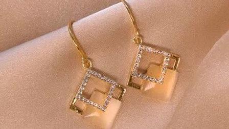 Opal&Rhinestone drop Earrings