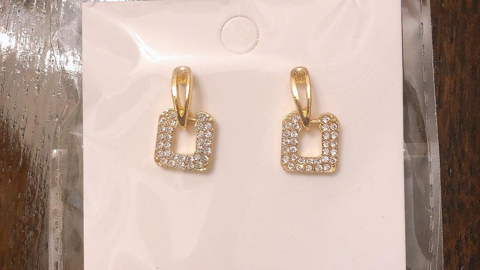 Gold & rhinestone square earrings