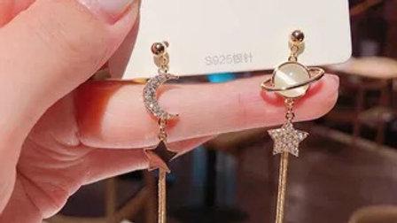 Opal planet& rhinestone moon asymmetric Earrings