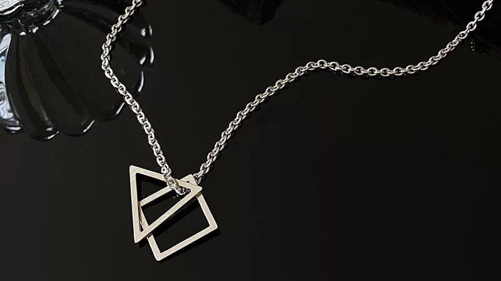 Silver triangle & square Necklace