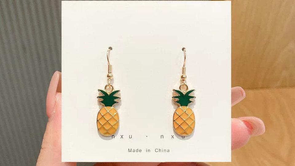 Yellow pineapple drop earrings