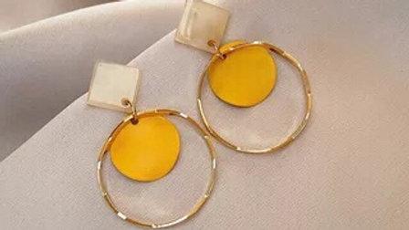 Yellow circles earrings