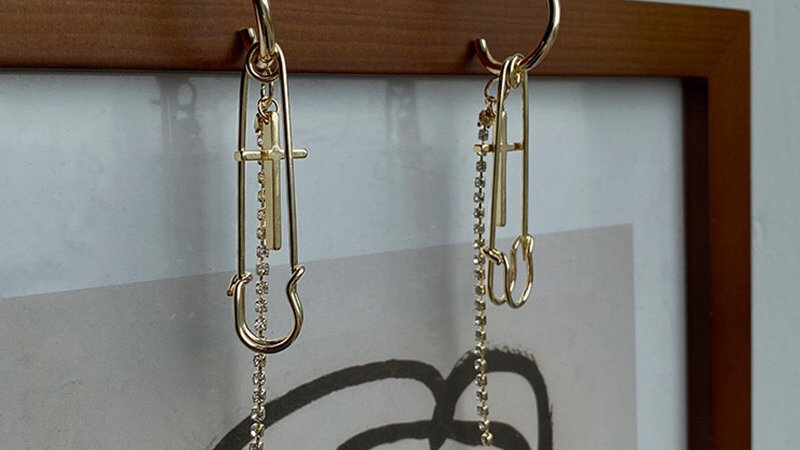 Cross &  Rhinestone Earringsh