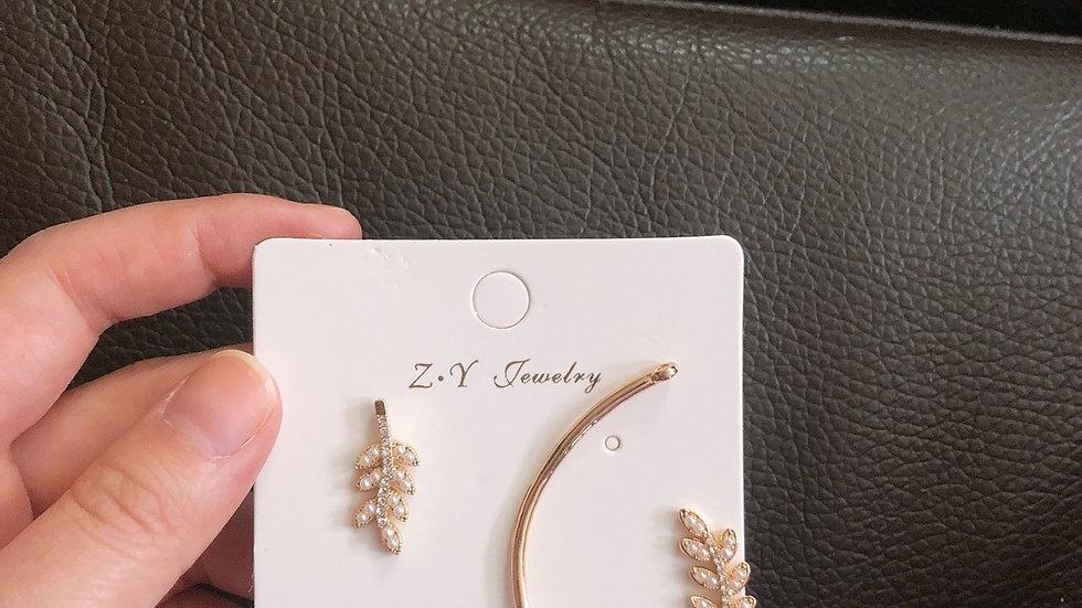 Pearl leaves earrings
