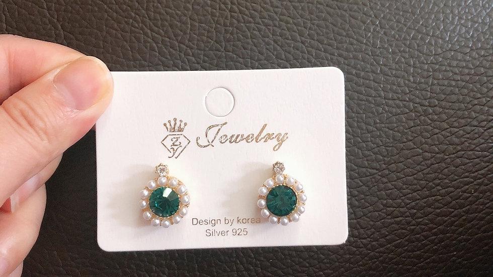 Green/Red sapphire earrings