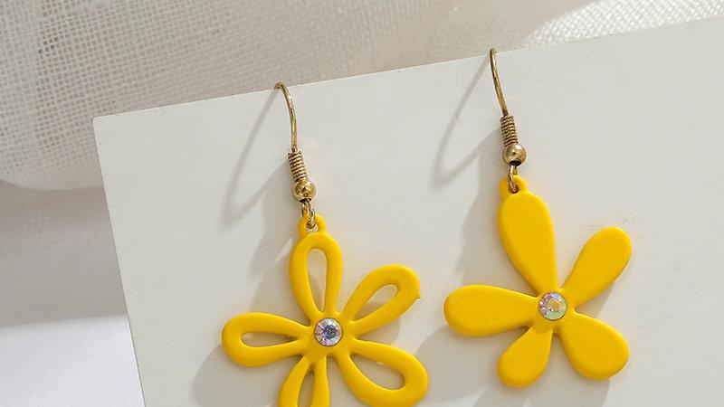 Yellow flower drop Earrings