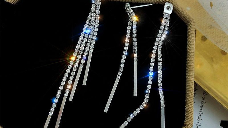 Rhinestone tassels Earrings