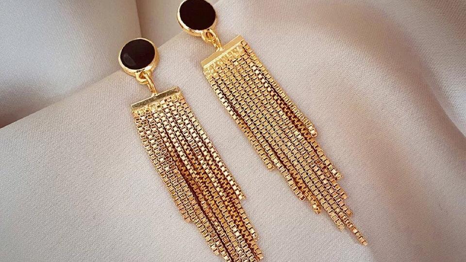 Black rhinestone tassels earrings