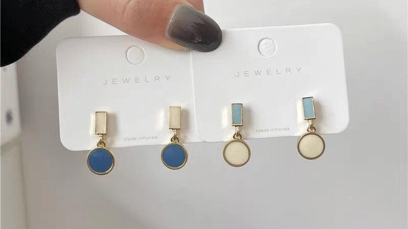 Blue & white earrings