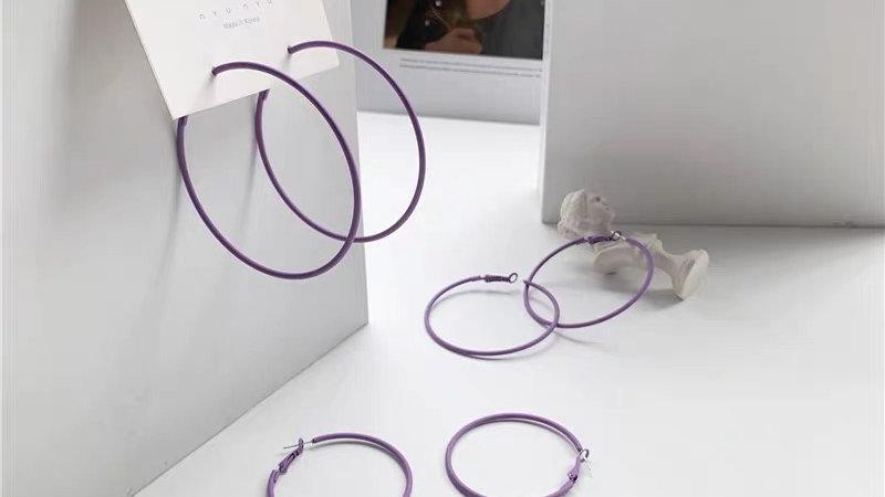purple big hoop earrings
