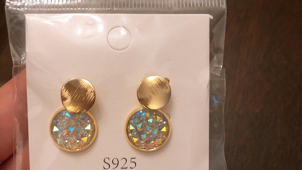 Gold & white Sapphire earrings