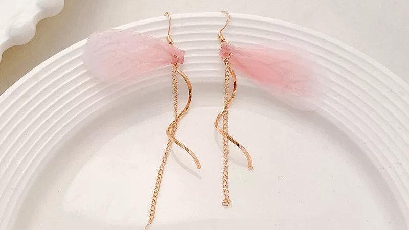 Pink wings drop earrings