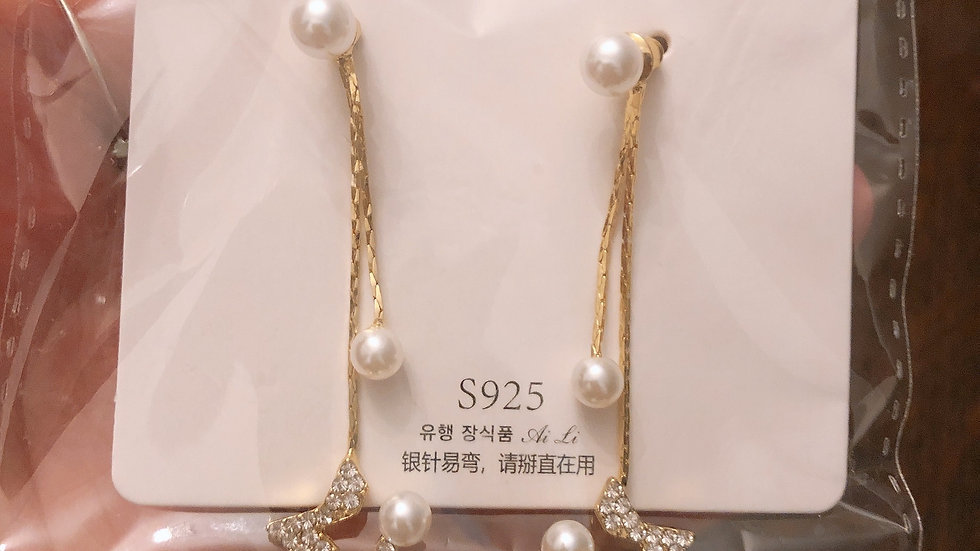 Gold & rhinestone star drop earrings