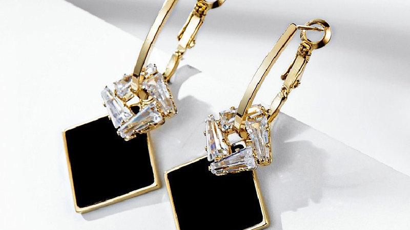 Black& rhinestone Earrings
