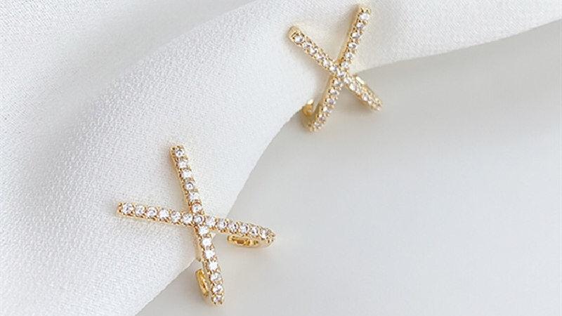 Rhinestone X Earrings
