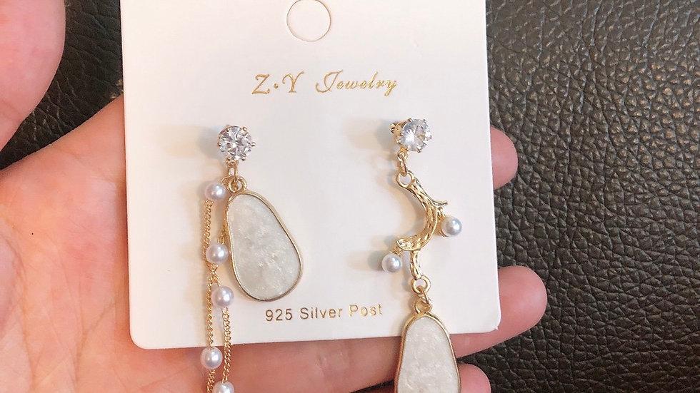 White drop earrings