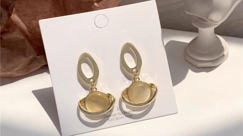 Opal planet earrings