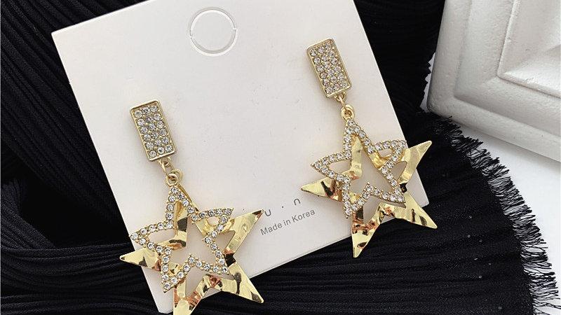 Gold Star Rhinestone Earrings