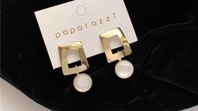 Gold & white gem earrings