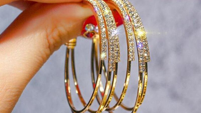 Rhinestone gold Hoop earrings