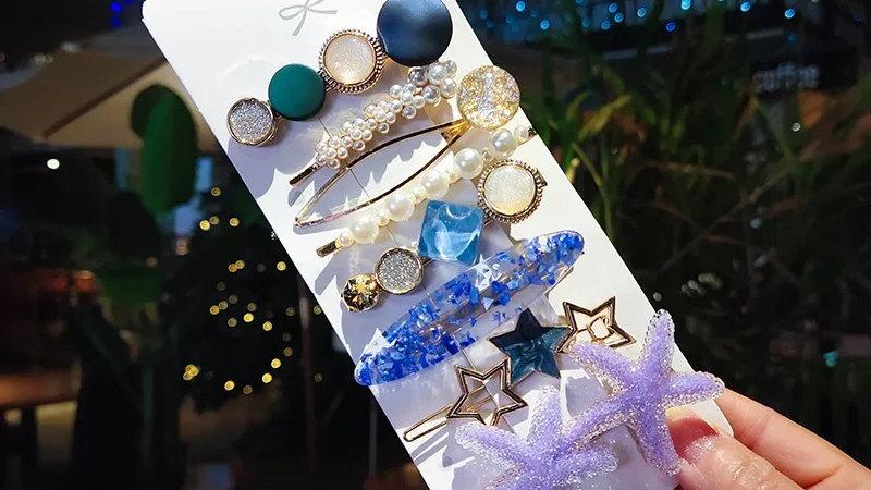 Ocean blue hair pins set