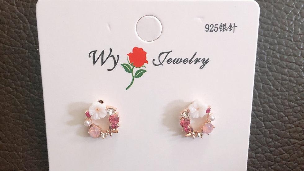 Pink flower stud earrings