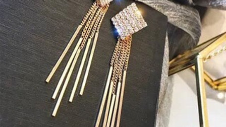 Rhinestone square tassels Drop earrings