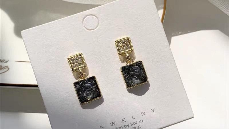 Rhinestone & black square earrings