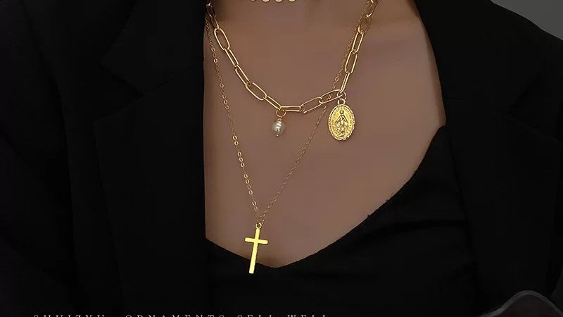 Gold chain & cross layered necklace
