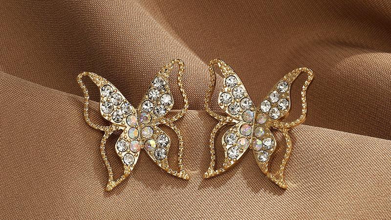 Rhinestone Butterfly Earringse
