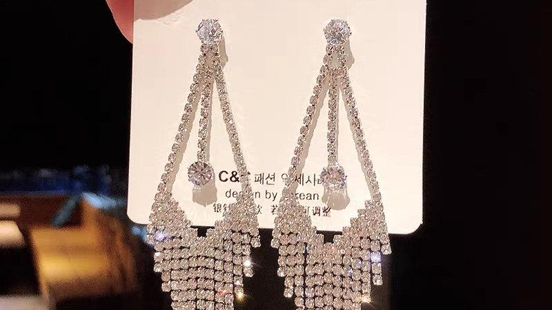 Silver rhinestone tassels drop earrings