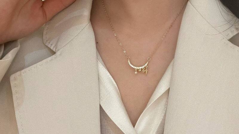 Gold plated Moon & stars necklace