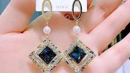 Blue Sapphire gold Earrings