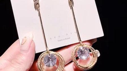 Rhinestone gold circles dropEarrings
