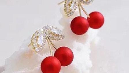 Red cherry & rhinestone earrings