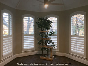Single panel shutters, center tilt rod,