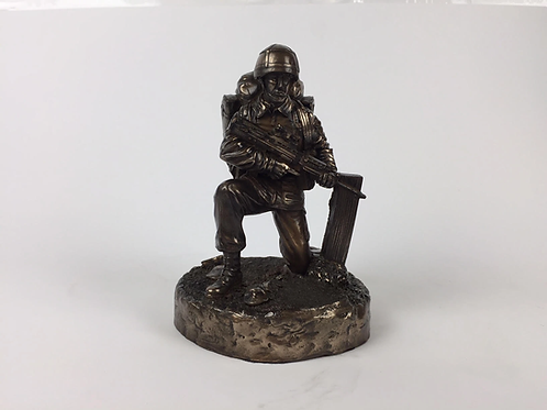 British Kneeling Soldier Cold Cast Bronze Military Statue Sculpture