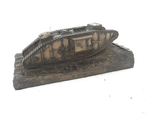 WW1 Mark IV Male Tank Cold Cast Bronze Statue (Large)