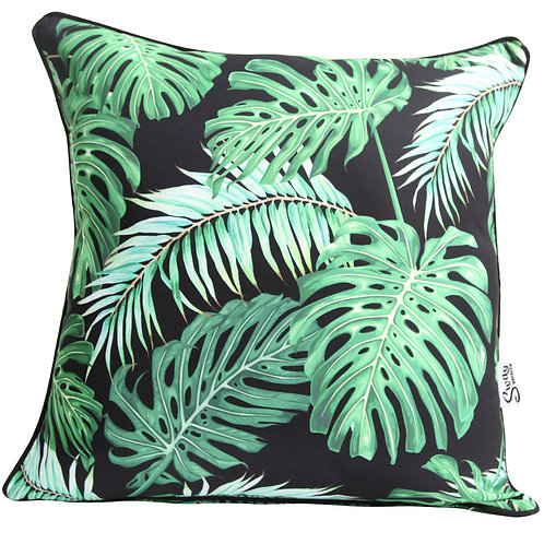 Green and black tropical patio cushion
