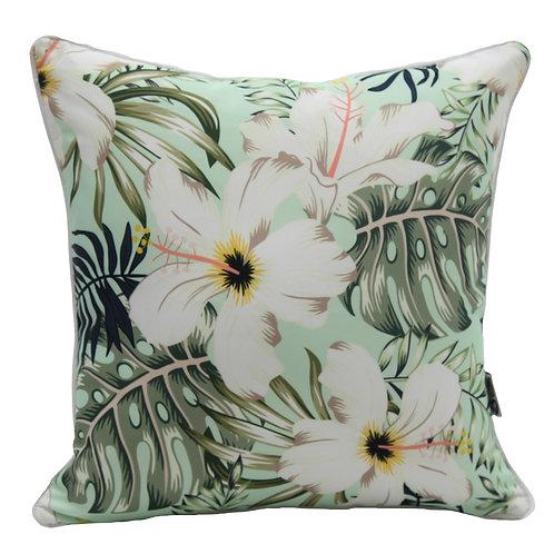 Pale green tropical cushion