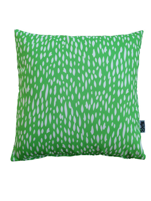 Bright green outdoor scatter; orange spotty cushion ...