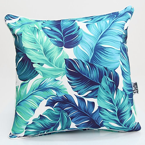 Blue Green Palm Leaf Cushion