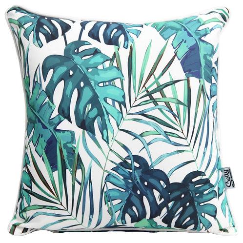 Blue Green Monstera Leaf Cushion