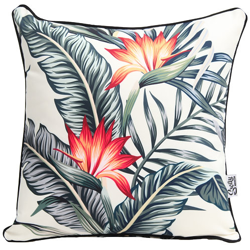 Bird of Paradise floral cushion cover