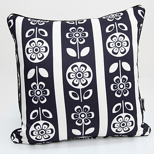 Black and White Retro Flower Outdoor Cushion