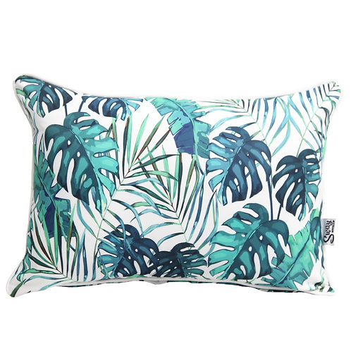 Monstera print outdoor cushion