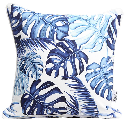 Blue Monstera outdoor cushion