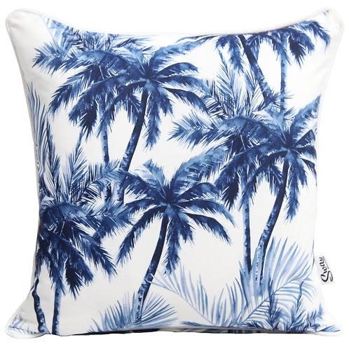 Blue palm tree cushion cover
