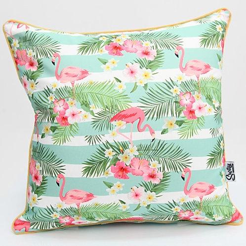 Retro Pink Flamingo Outdoor Cushion