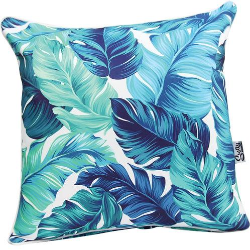 Aqua Blue palm leaf cushion